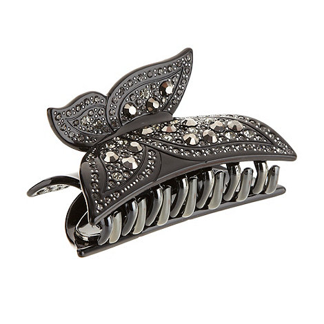 The Collection - Black embellished butterfly clip