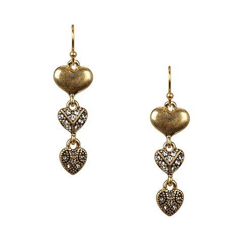 Pilgrim - Gold heart drop earrings