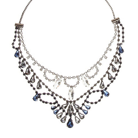 The Collection - Gunmetal jewelled double chain necklace