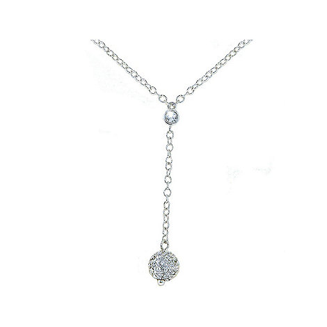 Crystalline - Rhodium Swarovski crystal ball drop necklace