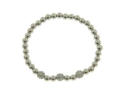Crystalline Rhodium Swarovski crystal ball stretch bracelet - . -