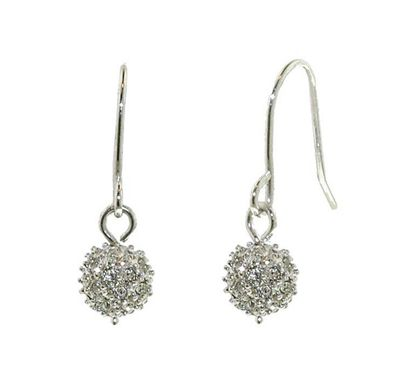 Crystalline Rhodium Swarovski crystal ball hook earrings - . -