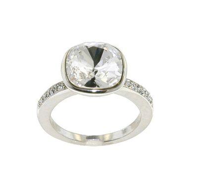 Crystalline Rhodium Swarovski crystal cushion ring 54 - S/M. -