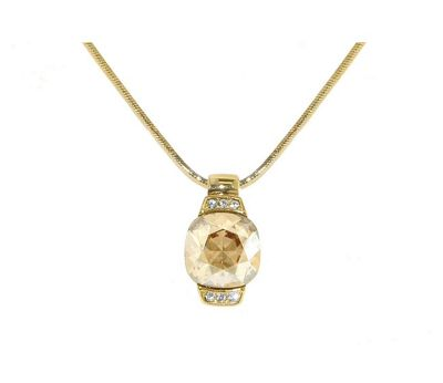 Crystalline Gold Swarovski crystal cushion pendant - . -