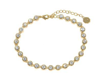 Crystalline Gold Swarovski crystal tennis bracelet - . -