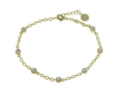 Crystalline Gold Swarovski crystal stations bracelet - . -