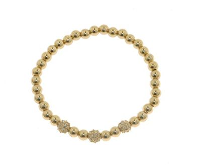 Crystalline Gold Swarovski crystal ball stretch bracelet - . -