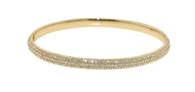 Crystalline Gold pave Swarovski crystal hinged bangle - . -