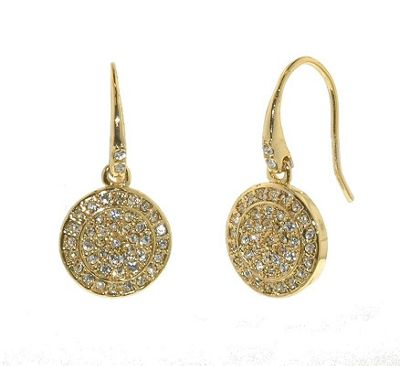 Crystalline Gold pave Swarovski crystal disc earrings - . -