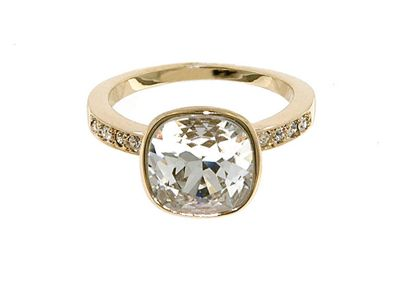Crystalline Gold Swarovski crystal cushion ring 56 - M/L. -