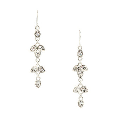 Pilgrim - Silver multi diamante leaf drop earrings