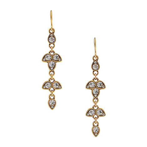 Pilgrim - Gold multi diamante leaf drop earrings