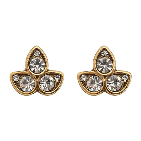 Pilgrim - Gold diamante leaf stud earrings