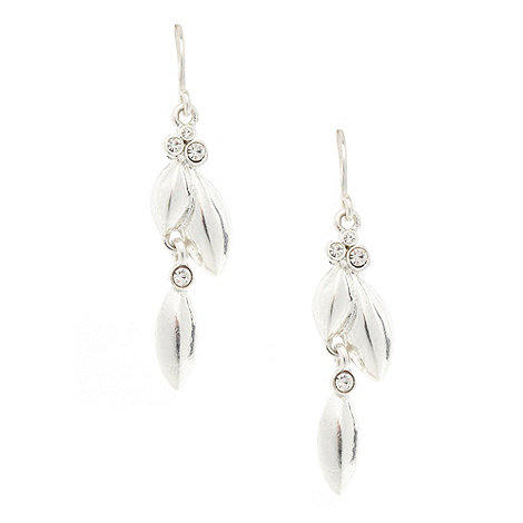 Pilgrim - Silver diamante leaf drop earrings