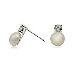 Van Peterson 925 - Designer sterling silver pearl and crystal stud earrings