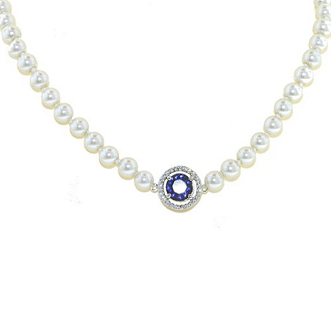 Finesse - White pearl & pave surround sapphire cubic zirconia necklace