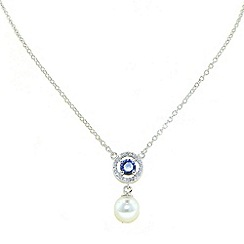 Finesse - White pearl & pave surround sapphire cubic zirconia pendant