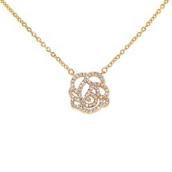 Finesse - Rose gold crystal rose & cubic zirconia pendant