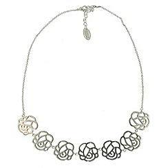 Finesse - Rhodium rose flower link necklace