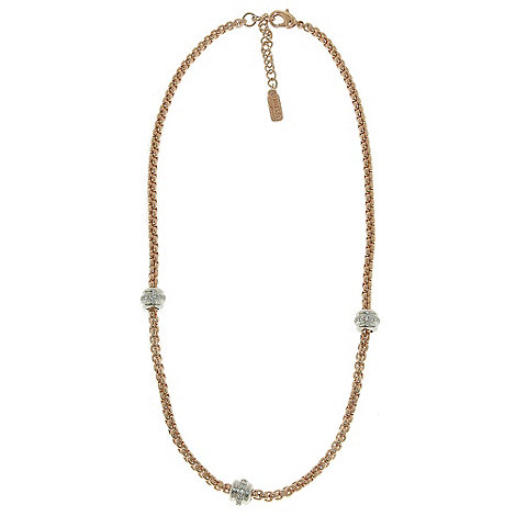 Finesse - Rose gold, rhodium & swarovski crystal station chain necklace