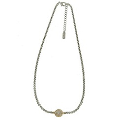 Finesse - Rhodium rope & gold swarovski crystal pave ball necklace