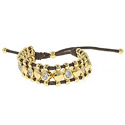 Finesse - Gold & crystal cord friendship bracelet