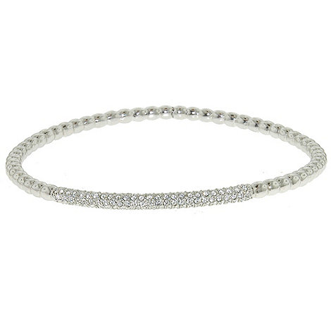 Finesse - Rhodium & swarovski crystal bobbled bangle