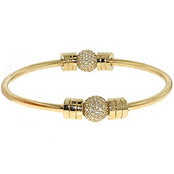 Finesse - Gold & swarovski crystal pave ball bangle