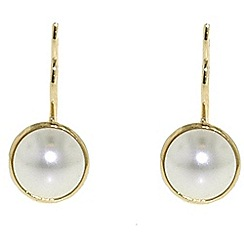 Finesse - Bouton pearl & gold leverback earrings