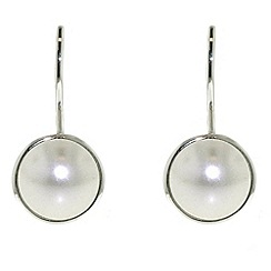 Finesse - Bouton pearl & rhodium leverback earrings