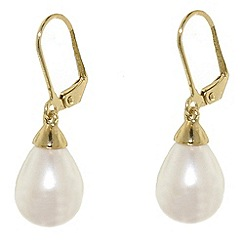 Finesse - Teardrop pearl & gold leverback earrings