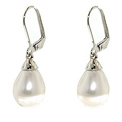 Finesse - Teardrop pearl & rhodium leverback earrings