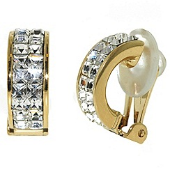 Finesse - Gold & swarovski crystal half hoop clip earrings