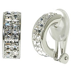 Finesse - Rhodium & swarovski crystal half hoop clip earrings