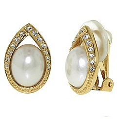 Finesse - Gold & swarovski crystal teardrop clip earring