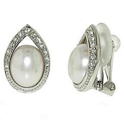Finesse - Rhodium & swarovski crystal teardrop clip earring