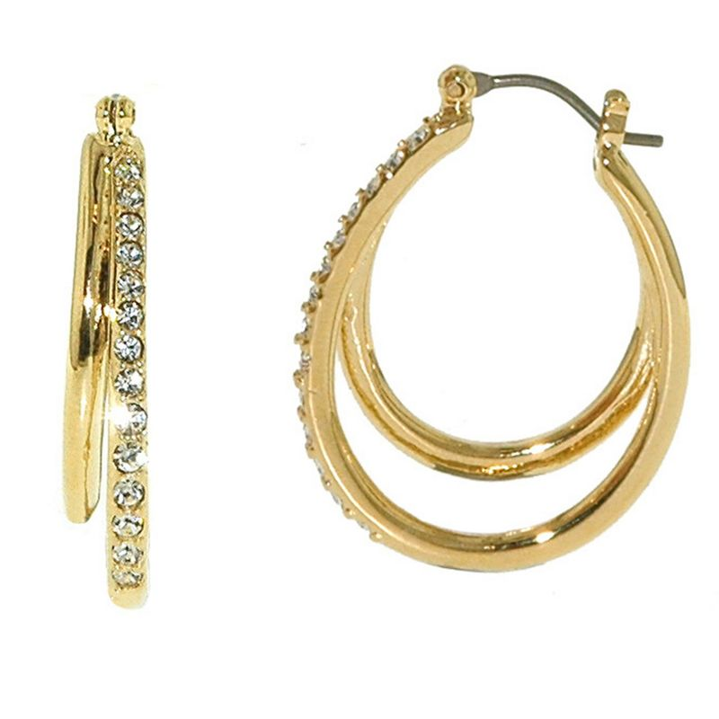 Finesse Gold and Swarovski Crystal Double Hoop Earrings,