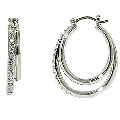 Finesse - Rhodium & swarovski crystal double hoop earrings