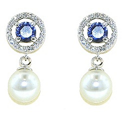 Finesse - White pearl & pave surround sapphire earrings