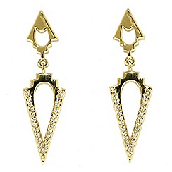 Finesse - Gold & crystal arrowhead drop earrings