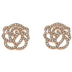 Finesse - Rose gold crystal rose flower earrings