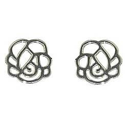 Finesse - Rhodium rose flower earrings