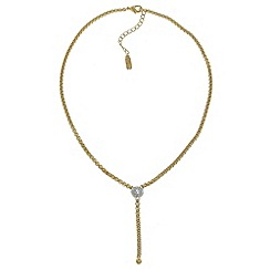 Finesse - Gold & rhodium swarovski crystal pave ball y necklace