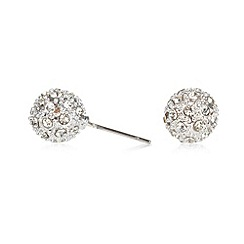 The Collection - Silver crystal ball earrings