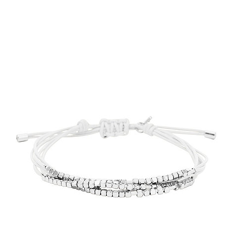 Fossil - White leather bracelet with silver-tone nuggets