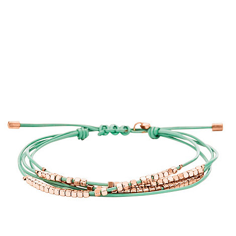Fossil - Green leather bracelet with rose-tone nuggets