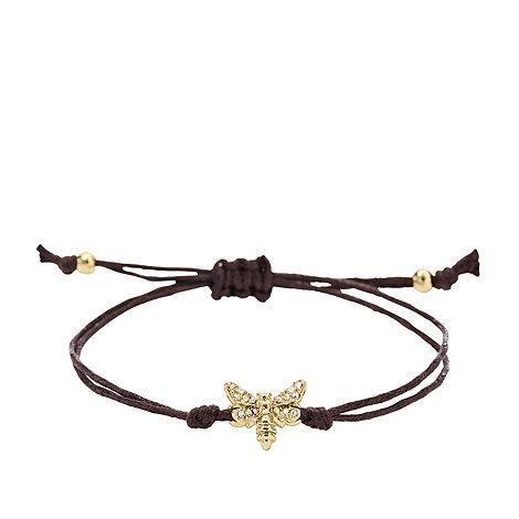 Fossil - Black cord gold charm bracelet