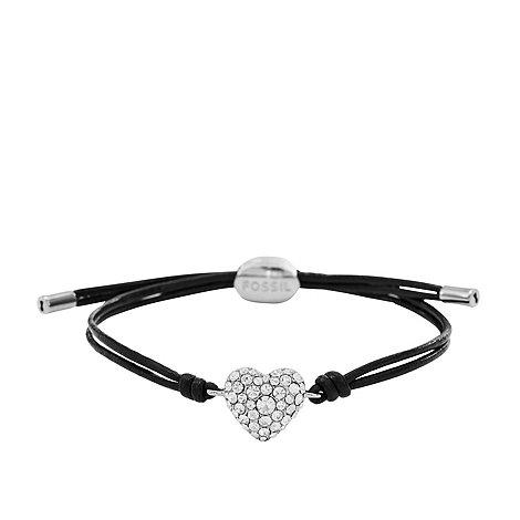 Fossil - Black cord silver pave heart bracelet