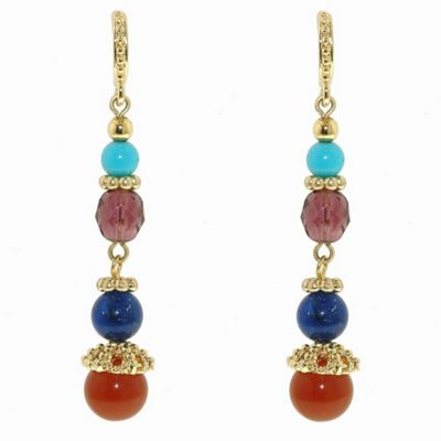 1928 Azteca gold long drop earrings - . -