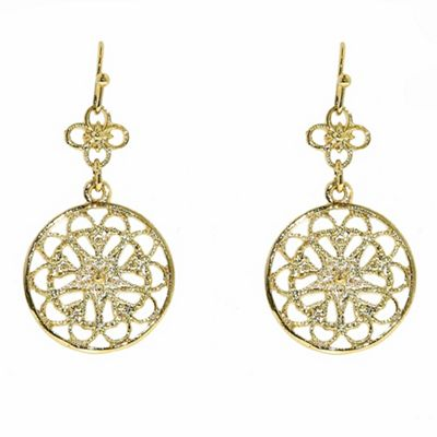 1928 Golden filigree disc earrings - . -